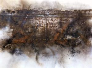 Globe, 2009 oil, ignited gunpowder, ash and sawdust on canvas 5' 8
