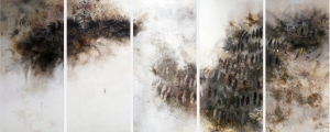 Verehrung, 2008 oil, ignited gunpowder, ash, paper on five conjoined hardboard panels 4' x 9.5'
